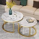 Table Basse Moderne en Marbre, 2 Round Tables Gigognes avec Cadre en Métal en Laiton Table De Salon Table en Marbre