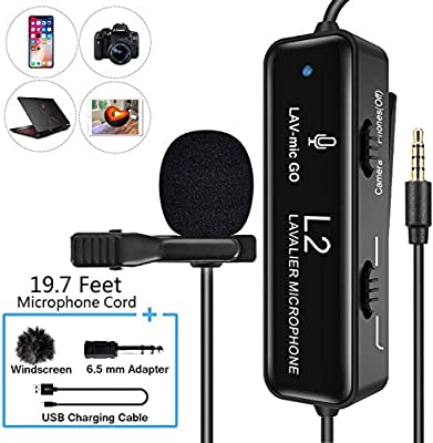 FULAIM Professional Lavalier Microphone with Noise Reduction for iPhone, Camera, PC, Android, Camcorder, Omnidirectional Condenser Lapel Mic with USB Charging for Video, YouTube, Interview, Vlogging