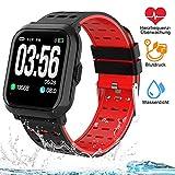 Tigerhu Smartwatch,Fitness Armband Uhr Voller Touch Screen Fitness Tracker Sport Uhr IP68 Wasserdicht Stoppuhr Kalorienzähler mit Schrittzähler Pulsuhren Intelligente Armbanduhr für Damen...
