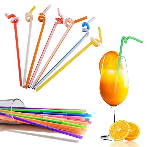 sinzau 200 Stück Trinkhalme, Bunten Farben Strohhalme aus Kunststoff, Bendable, für Party, Bar, Getränkegeschäfte, Cocktail