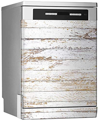Megadecor Decoratief vinyl voor vaatwasser, afmetingen standaard 67 cm x 76 cm, houten panelen gewassen in horizontaal wit slijtage antiek vintage