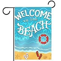 ガーデンヤードフラッグ両面 /12x18in/ ポリエステルウェルカムハウス旗バナー,ビーチへようこそ