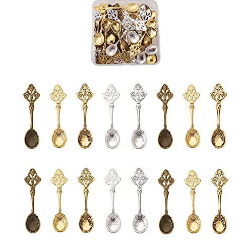 Fashewelry 50 colgantes de aleación de metal para utensilios de cocina tibetanos de 5 colores, 58 x 15,5 mm, para manualidades, manualidades