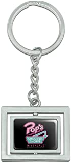 Graphics and More Riverdale Pops Chock'lit Shoppe Spinning Rectangle Chrome Plated Metal Keychain Key Chain Ring