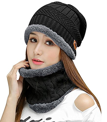 HINDAWI Womens Beanie Winter Hat Scarf Set Slouchy Warm Snow Knit Skull Cap Black