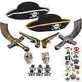 com-four Set de Accesorios II. para Disfraces de Piratas - Ideal para Carnaval, Fiestas temáticas y Eventos de Disfraces (15 Piezas - para 2 niños)