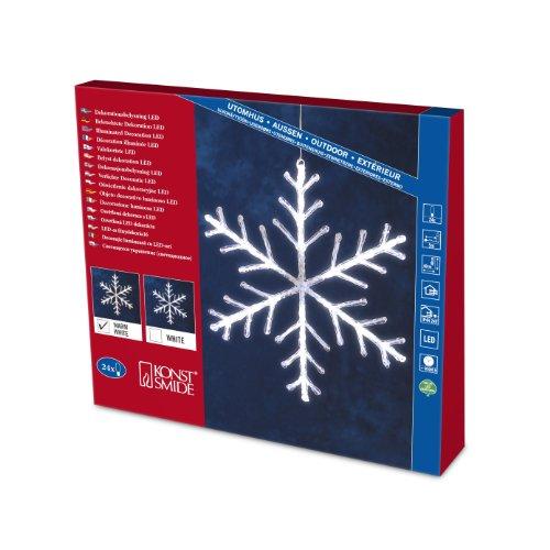 Konstsmide 4440-103 LED Acryl Schneeflocke 24 warm weiße Dioden / Ø: 40cm / 24V Außentrafo / transparentes Kabel