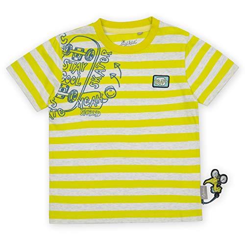 Sigikid Jungen Mini Bio-Baumwolle für Kinder T-Shirt, Gelb/Skateboard, 128