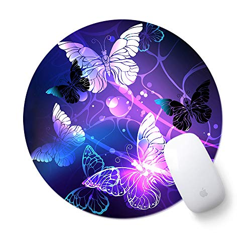 Round Cute Mouse Pad, ToLuLu Mousepad for Desktop Computer Laptop Notebook, Anti Slip Rubber Customized Mouse Mat for Working Gaming, Mini Funny Unique Design Mouse pad for Home, Office, Art Butterfly