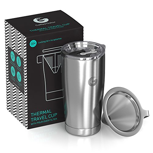 Pour Over Coffee Travel Mug - Coffee Gator all-in-one Travel Coffee Maker and Thermal Cup - Vacuum Insulated Stainless Steel Cup with Paperless Filter Dripper - 20oz - Silver