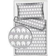 Kinderbettwäsche Elefanten 2-tlg. 100% Baumwolle 40x60 + 100x135 cm mit Reißverschluss (grau1)