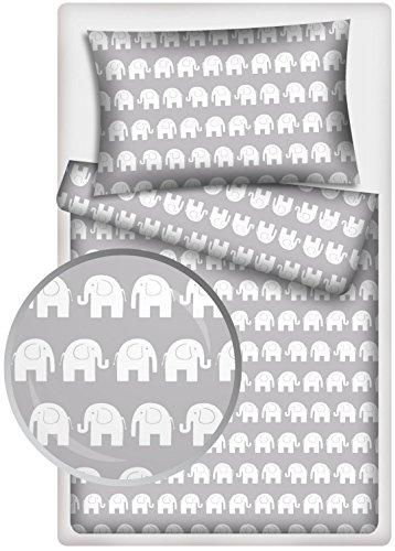 KiGATEX Kinderbettwäsche Elefanten Baumwolle 40x60 + 100x135 cm (grau1)