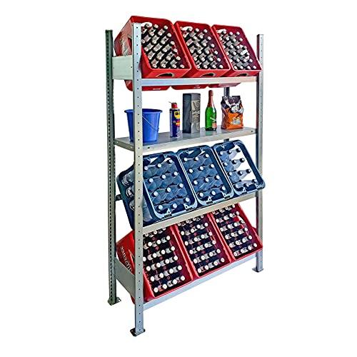 Lagerknecht Getränkekistenregal 9 Kisten Made in Germany professionelle Ordnung für Kisten Regal für Getränkekisten mit Regalboden, Getränkeregal, Wasserkistenregal, Bierkistenregal