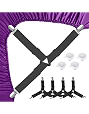LATTCURE 4 Stks Verstelbare laken bevestigingsmiddelen bretels, laken clips hoeslaken clips riemen grijpers clips, driehoek elastische laken houder riemen, wordt geleverd met 4 quilt clips