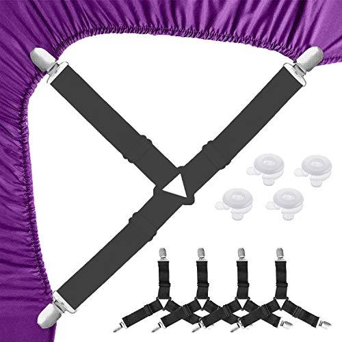 LATTCURE 4 Stück Verstellbare Bettlakenspanner Elastische Betttuchspanner Lakenspanner mit Metallclips Verstellbar Bügelbezugsspanner 3-Fach Dreieck Laken Träger mit 4pcs Bettdeckenhalter, Schwarz