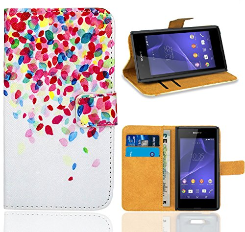 Sony Xperia E3 Handy Tasche, FoneExpert Wallet Hülle Flip Cover Hüllen Etui Ledertasche Lederhülle Premium Schutzhülle für Sony Xperia E3