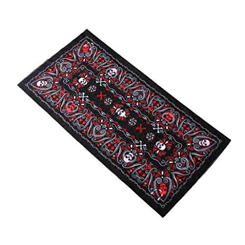KUSTOM FACTORY - Pañuelo bandana (48 x 25 cm), diseño de calavera, color rojo y negro