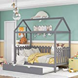 Twin Size House Bed with Trundle, Wood House Bed with Fence-Shaped Guardrail, Daybed Frame Wooden Slats Support, No Box Spring Needed (Gray)