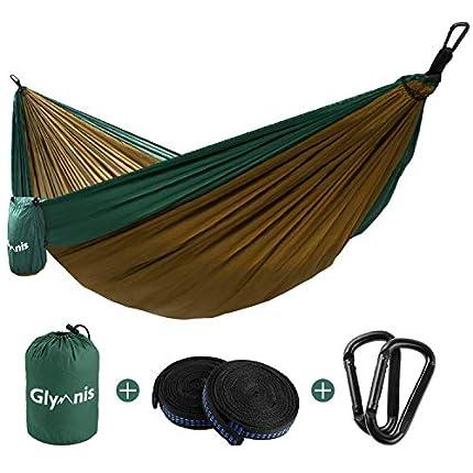 Glymnis Hamaca Ultraligera para Camping y Viaje de Nylon 300kg de Capacidad de Carga Ranspirable y Secado Rápido 275x140cm Kit de Hamaca de Tela 210T Verde y Marrón