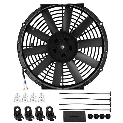 Qiilu Ventilador de radiador de coche de 12 pulgadas, ventilador de radiador de coche de tracción/empuje, refrigeración de la bahía del motor con kit de montaje, piezas modificadas automáticamente