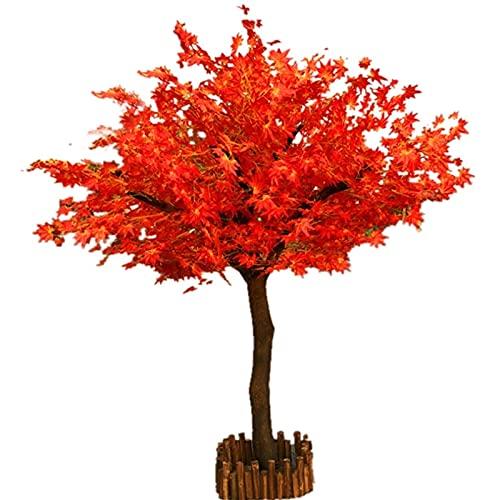 Árbol de arce rojo artificial en maceta, 1,5 m, árbol de hoja de arce, curvado, árbol artificial para interiores y exteriores, jardín, árbol de arce decorativo (color: redondo tipo 100 x 60 cm)