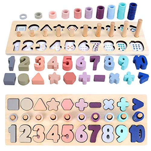QZM Wooden Number Puzzle, Montessori Toys for Toddlers Shape Sorter Blocks Counting Stacking Sorting Games Wooden Shape Puzzle Math Toy for Kids Preschool Educational Toy Learning Age 3 4 5 Years Old