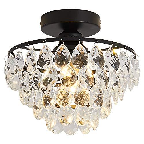 Moderne Kristall-Kronleuchter, halbbündige Montage, Deckenleuchte, LED-Lichtschirme für Flur, Flur, Schlafzimmer, Wohnzimmer, Badezimmer, Landing Küche (schwarz)