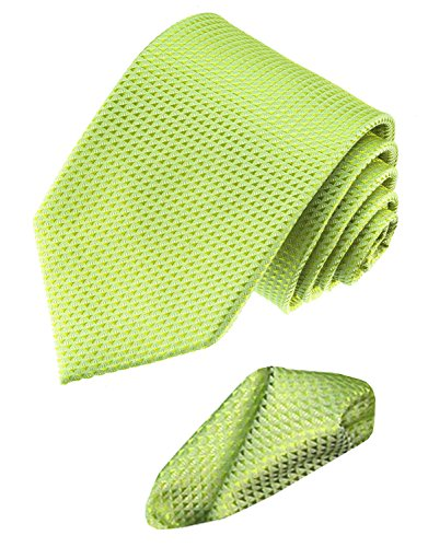 Lorenzo Cana - Business Krawatte hellgrün lindgrün aus 100% Seide mit Einstecktuch - 8448901