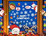 CheChury Christmas Window Stickers Snowflakes Window Clings for Xmas Decorations Reindeer Peeking Decals Removable Static PVC Stickers for Christmas Home/Shop Decorations