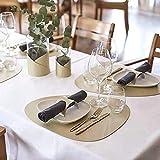 Platzset oval, Lederoptik Tischset und Untersetzer 4er-Set,wärmedämmend, schmutzabweisend, rutschfest, Tischset wasserdicht, waschbar, abwischbar,Bunte Tischset (Golden) - 7