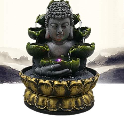 XIAOQIAO Fuente de Escritorio, decoración del hogar Creativo, Cascada de Agua de Resina, Fuente LED, decoración de la Estatua de Buda, decoración del Paisaje, Adecuado para el hogar y la Oficina