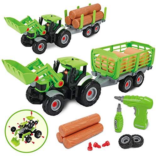 GILOBABY Montage Spielzeug Auto,2 in 1 Bauernhof-Fahrzeuge für Kinder,Traktor Spielzeug mit anhänger ,Ton ung Licht,Geschenke für Kinder ab 3 4 5 6 7 8 Jahre