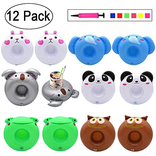 12 Pack Inflatable Drink Holders, Angela&Alex Drink Floats Beverage Salad Fruit Serving Bar Pool Summer Beach Leisure Cup Bottle Water Fun Party Toys Kids Adults (Koala Elephant Panda Owl Frog Rabbit)