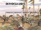 2014 Dinosaurs, Dilophosaurus, Tyrannosaurus, Ornitholestes, Compsognathus, Collectible Sheet of 4 Stamps, Mint Never Hinged