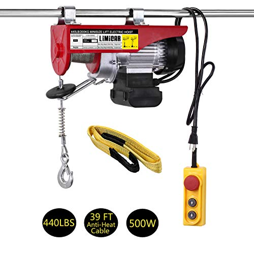 LIMICAR Electric Hoist 440LBS Overhead Lift Electric Hoist Crane Garage Ceiling Pulley Winch Remote Control Power System with Premium Straps 6.6'x3