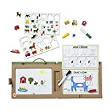 Melissa & Doug Natural Play: Juega-Dibuja-CREA Kit Reutilizable para Dibujo e Imanes – La Granja (38 Imanes, 5 Marcadores de Borrado en Seco)