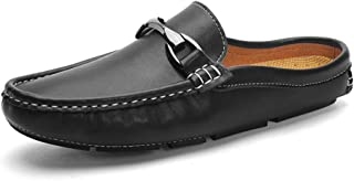 2019 Mens Summer Mens Loafer Half Dragged Loafer for Men Boat Moccasins Slip On Style OX Leather Metaldecor Convenience Shoes