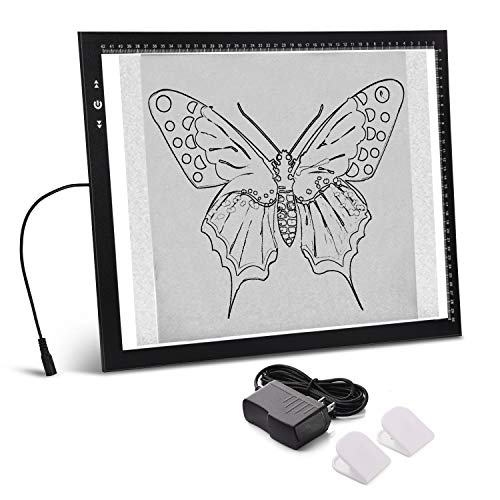 A3 Light Box Light Pad Aluminium Frame Touch Dimmer 11W Super Bright Max 4500 Lux with Carry/Storage Bag (A3 Light pad)
