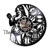 FDGFDG Gimnasio no Tiene Dolor ni Ganancias Reloj de Vinilo Decoración de la Pared Reloj de Gimnasio Culturista Gimnasio decoración de la Pared Arte