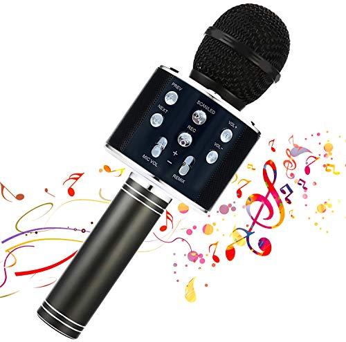 Micrófono inalámbrico Karaok, 4 en 1 máquina portátil de karaoke con altavoz portátil Bluetooth, reproductor KTV doméstico con función de grabación(BLACK)