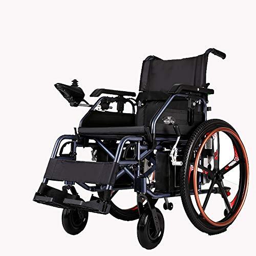YONGMEI Rollstuhl-Rollator Elektrischer Rollstuhl Klappbarer Leichter Rollstuhl aus Aluminiumlegierung Älterer rollbarer Rollstuhl (40 km) (Farbe : SCHWARZ)