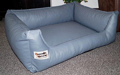 Hundebett Hundesofa Schlafplatz Kunstleder Similpelle Farbe und Größe wählbar von XS bis XXL (80 cm X 60 cm, grau)
