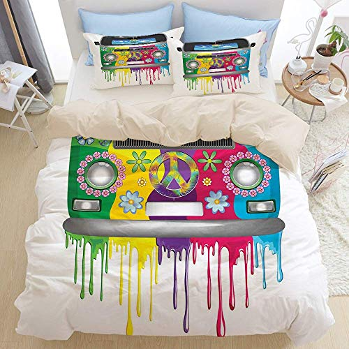1203 beige Duvet Cover Set,Colorful Hippie Van Vacation Print,Microfibre Duvet Cover Set 200x200cm with 2 Pillowcase 50x80cm