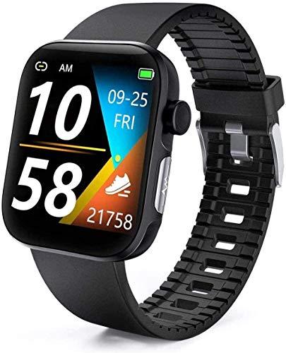 Reloj inteligente con monitor de presión arterial, seguimiento de actividad con monitor de ritmo cardíaco/sueño/oxígeno en sangre, smartwatch fitness Tracker podómetro cronómetro