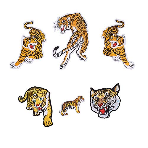 NBEADS 6pz Roaring Bengal Tiger Striped Ricamato Panno Patches DIY Iron On Patches Sew on Applique Craft Patch per Borse, Giacche di Jeans Zaino