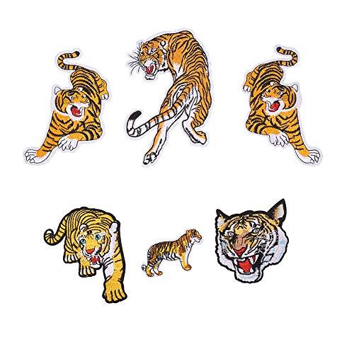 NBEADS Parches Bordados de Tigre de 6 Piezas con diseño de Bandera de Bengala a Rayas para Coser o Coser, para Bolsas, Chaquetas, Vaqueros, Mochila