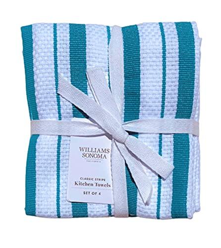 Williams-Sonoma Classic Stripe Kitchen Dish Towels, Set of 4 (Enamel Blue Teal)