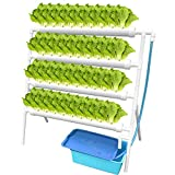 WEPLANT NFT Hydroponic Growing System 4 Layer 36 Holes with Timed Cycle Fertilizer, PVC-U Pipe Hydroponic Kit with Cups Sponge Pump