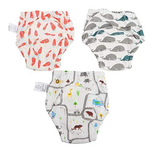 Toddmomy 3Pcs Pantalones de Entrenamiento Unisex para Bebés Y Niños Pequeños Ropa Interior de Entrenamiento de Gasa de Algodón Lavable (Talla L)