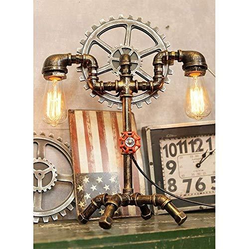 LKAIBIN Nordic rústico Steampunk Tabla luces retro tubo de agua de escritorio accesorio de iluminación de lámpara de mesa, mesita de noche lámpara de escritorio, lámpara de cabecera del estilo industr